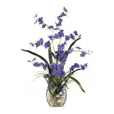 Dancing Lady Orchid Liquid Illusion Silk Flower Arrangement, Purple