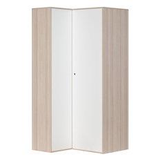 Spot Large Corner Wardrobe, Acacia and White/Grey