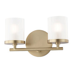 Ryan 2-Light Bath Light, Aged Brass Finish, Clear Frosted Glass Shade