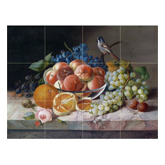 Tile Mural, Still Life With Bird and Fruit Blackberry Ceramic Glossy