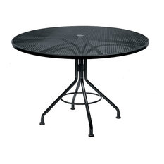 Wrought Iron Dining Table w Umbrella Holder and Mesh Top - Contract Plus (Textur