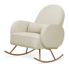 Nursery Works - Compass Rocker, Light Gray Weave With Rose Gold Legs, Oatmeal Weave - Rocking Chairs