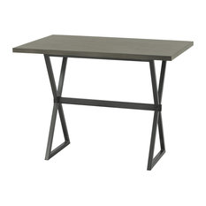 Valencia Rectangular Bar Table, Mineral Finish With Gray Walnut Wood Top