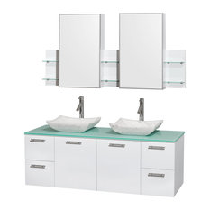 "Amare 60"" Double Vanity Glossy White, Green Glass Top, Avalon White Carrera Marb"