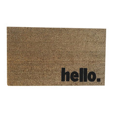 """Hand Painted """"Hello."""" Welcome Mat, Black Soul"""