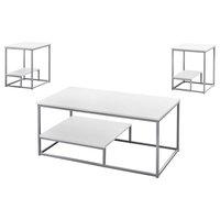 3-Piece Table Set, White/Silver