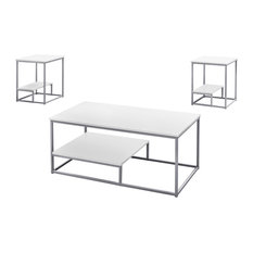 3-Piece Table Set, White/Silver