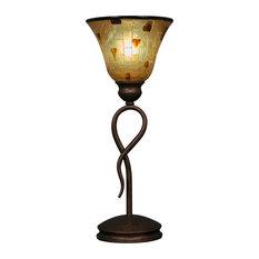 "Leaf Mini Table Lamp In Bronze, 7"" Penshell Resin Shade Glass"
