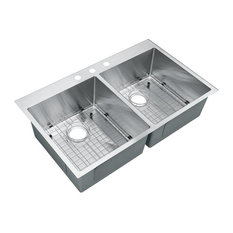 """Top-Mount Drop-In Stainless Steel Double Bowl Kitchen Sink With Grids, 33""""x22""""x9"""