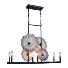 "37"" 6-Light Island Dark Bronze, Impasto Glass"