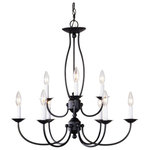 Livex - Livex Home Basics 9-Light Chandelier, Bronze - Fixture type: Chandelier