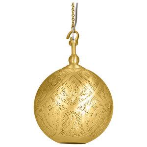 Sahar Matte Brass Hook Pendant, Small
