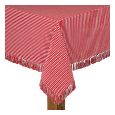"""Homespun Fringed 100% Cotton Tablecloth, Red, 52""""x70"""""""