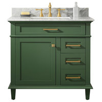 "36"" Blue Finish Sink Vanity Cabinet, Carrara White Top, Vogue Green"