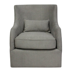 Wade Arm Chair With Kidney Pillow And Swivel Greige