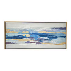Large Blue and Gold Abstract Painting, Metallic Gold Wood Frame