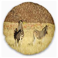 "Pair of Zebras in Namib Desert Animal Throw Pillow, 20"" Round"