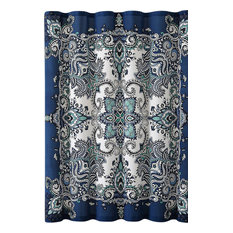 Mandala Fabric Shower Curtain Navy Blue Square Paisley Print