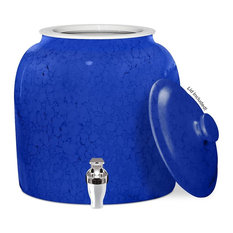 Brio Porcelain Water Dispenser Crock with Faucet, Small Marble Blue