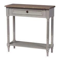 Edouard White Wash Distressed Two-Tone 1-Drawer Console Table