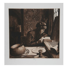 """Harry McCormick """"Reading"""" Etching"""