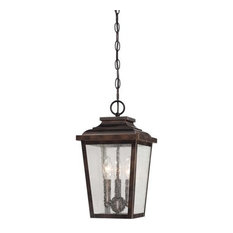 """The Great Outdoors Irvington Manor 3-Light 16"""" Outdoor Hanging Light in Cheles"""