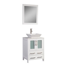 "Vanity Art Vanity Set With Vessel Sink, White, 24"", Standard Mirror"