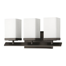 Burgundy Indoor 3-Light Bath With Glass Shades, Oil Rubbed Bronze