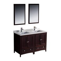"Oxford 48"" Mahogany Traditional Double Sink Vanity Savio Brushed Nickel Faucet"