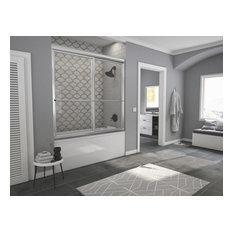 """Newport Framed Sliding Tub Door, Towel Bar, Clear, Chrome, 54""""x55"""""""