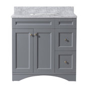 "Elise 36"" Single Bathroom Vanity, Gray With Marble Top and Round Sink"
