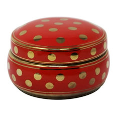 "Sagebrook Home Red/Gold Polka Dot Box 7"" Jar"
