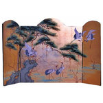 Oriental Furnishings - Oriental Fire Place Screen Gold Leaf - This hand painted 3 paneled Oriental folding screen features Asian cranes and a pine tree painted on Gold Leaf and lacquered. Imported from China at import direct pricing, it is lightweight and can be hung on a wall, used on the floor to cover a fireplace or as a table screen. The back has a black background and handpainted in bamboo pattern. The size is: Side panels: 10 by 32 inches high. Center panel: 30 by 32 inches high, total length 50 inch wide.