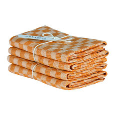 Axlings Chess Linen And Cotton Kitchen Towel, 2 Pack, Orange and White