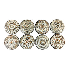 Twisted R Design - 8 Piece Set Gold and White Mandala Cabinet Knobs - Cabinet and Drawer Knobs