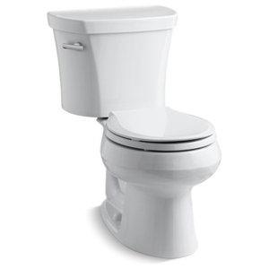 Kohler Wellworth 2-Piece Round-Front 1.28 GPF Toilet w/ Left-Hand Lever, White