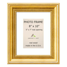 """Picture / Photo Frame 8x10 Matted to 5x7, Townhouse Gold, Outer Size 12""""x14"""""""