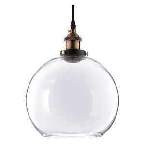 Vintage-Style Glass Ball Ceiling Lamp Pendant, Clear, 9.8""