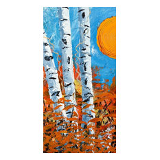 """""""Birch Bend Autumn"""" Painting Print on Wrapped Canvas, 22.5""""x45"""""""