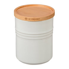 Le Creuset White Stoneware 2.5 Quart Canister with Wooden Lid