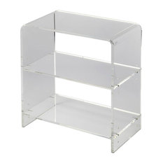 Offex Modern Rectangular Acrylic Bookcase, Crystal Clear
