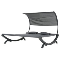 Merianna Gray Wood Sunbed, Gray Outdoor Mesh Canopy