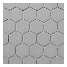 "12""x12"" Retro Unglazed Hexagon Mosaic, Light Gray, 12""x12"""