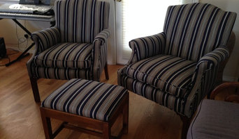 Denim Blue Striped Matching Chairs and Ottoman
