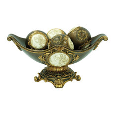"""8""""H Handcrafted Bronze Decorative Bowl With Decorative Spheres"""