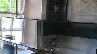 Antique mirror bevelled metro tiles