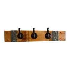 Wine Barrel Coat Rack with Round Oil Rubbed Bronze Hooks