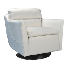 Clio Full Top Grain Leather Contemporary Chair, Off White