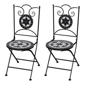 VidaXL Mosaic Bistro Chairs, Black and White, Set of 2