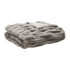 Solid Ruched Long Fur Knitted Throw, Gray